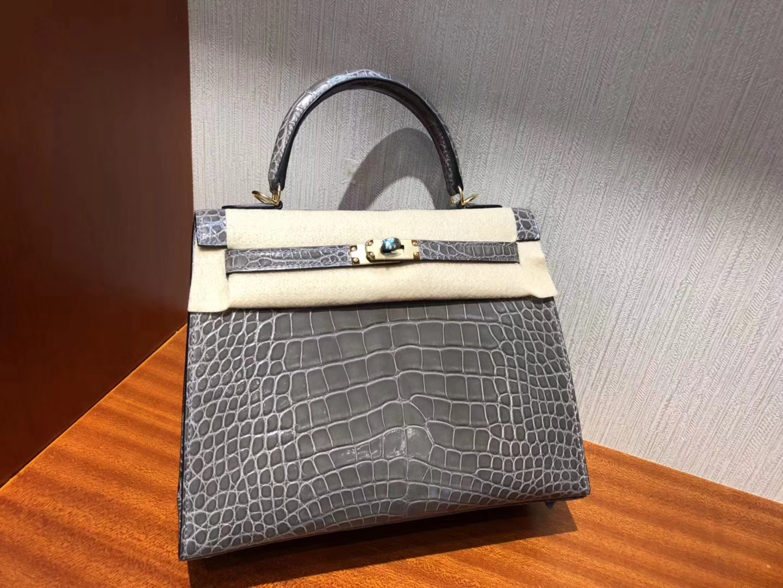 Wholesale Hermes CK81 Gris Tourterelle Shiny Alligator Crocodile Kelly25CM Bag Gold Hardware