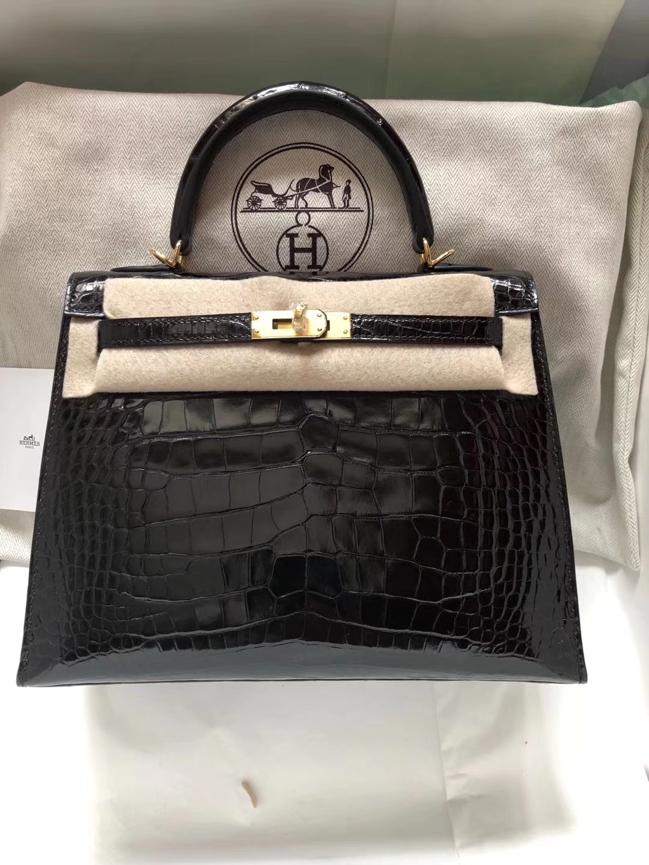 Luxury Hermes CK89 Black Shiny Crocodile Leather Kelly Bag25CM Gold Hardware