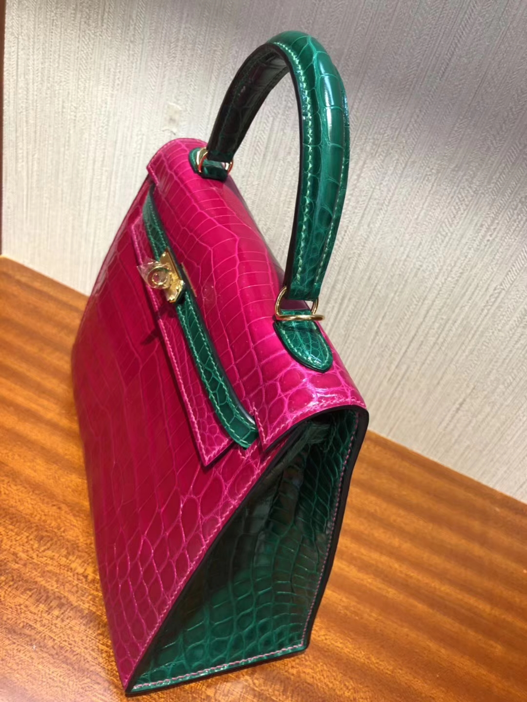 Pretty Hermes J5RoseScheherazade/6Q Emerald Green Shiny Crocodile Kelly25CM Handbag
