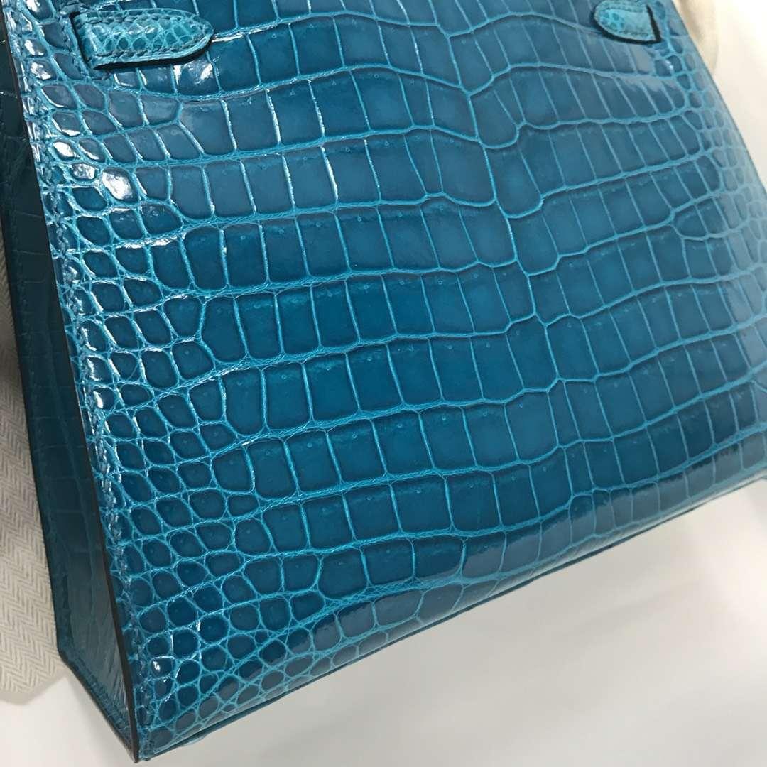 Discount Hermes 7W Blue Izmir Shiny Crocodile Kelly25CM Bag Silver Hardware