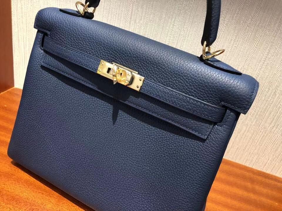 Fashion Hermes Togo Calf RetourneKelly Bag25CM in 7K Blue Saphir Gold Hardware