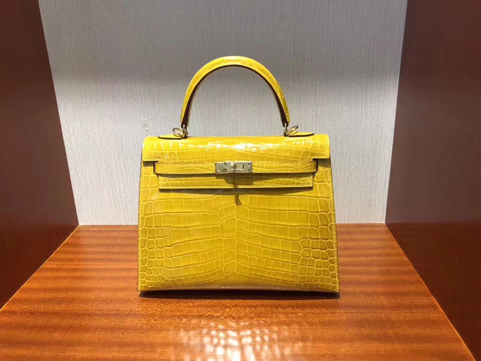 Noble Hermes 9D Ambre Yellow Shiny Crocodile Leather Kelly25CM Bag Gold Hardware