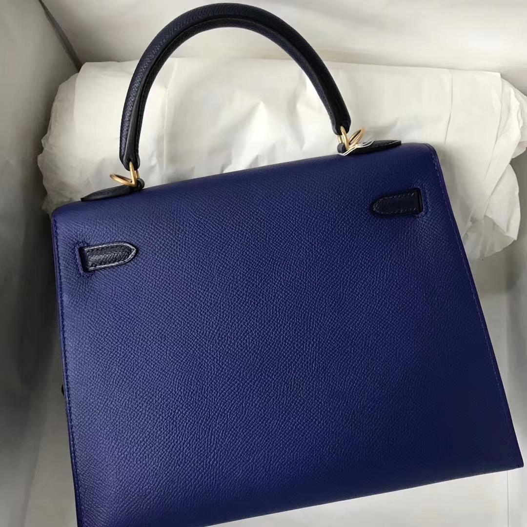 Discount Hermes Epsom Calf Kelly25CM Bag in 7T Blue Electric & Dark Blue Gold Hardware