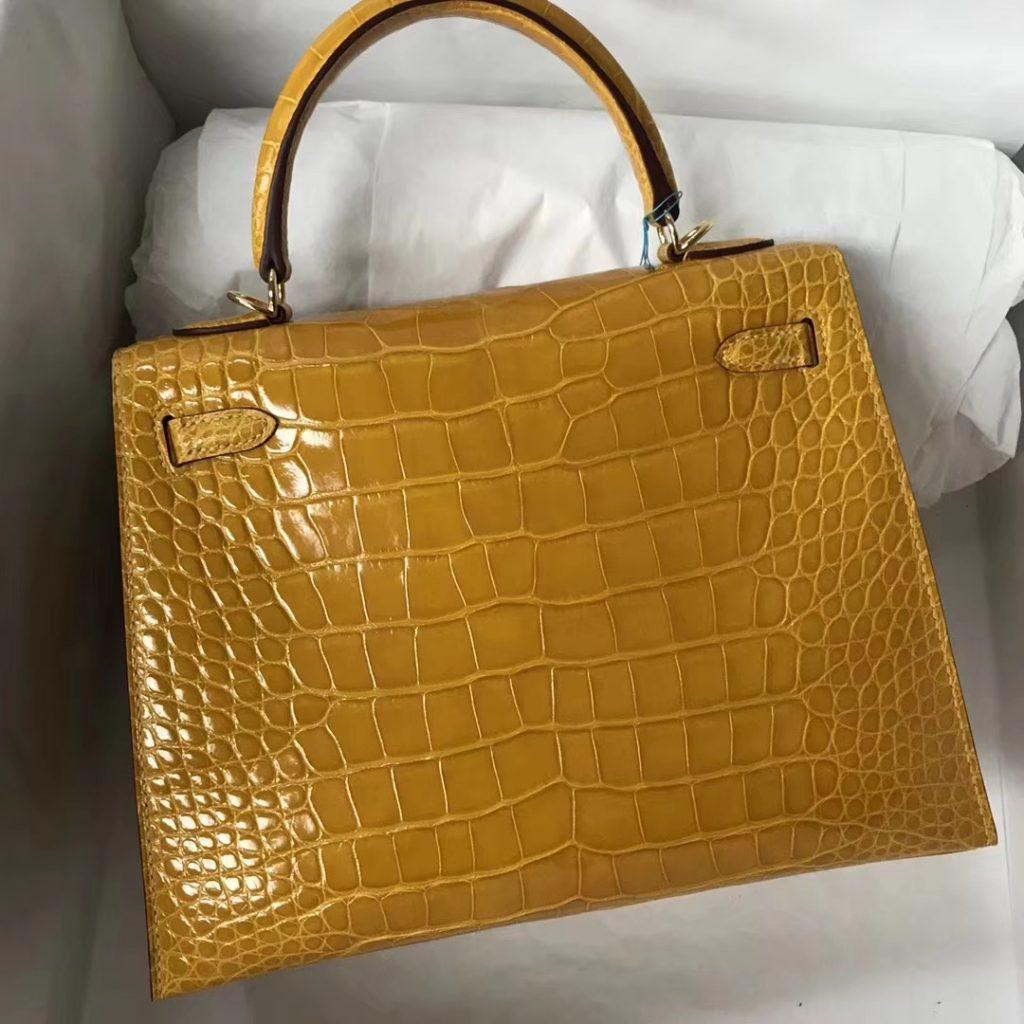 Discount Hermes 9D Ambre Yellow Shiny Crocodile Kelly Bag25CM Gold Hardware