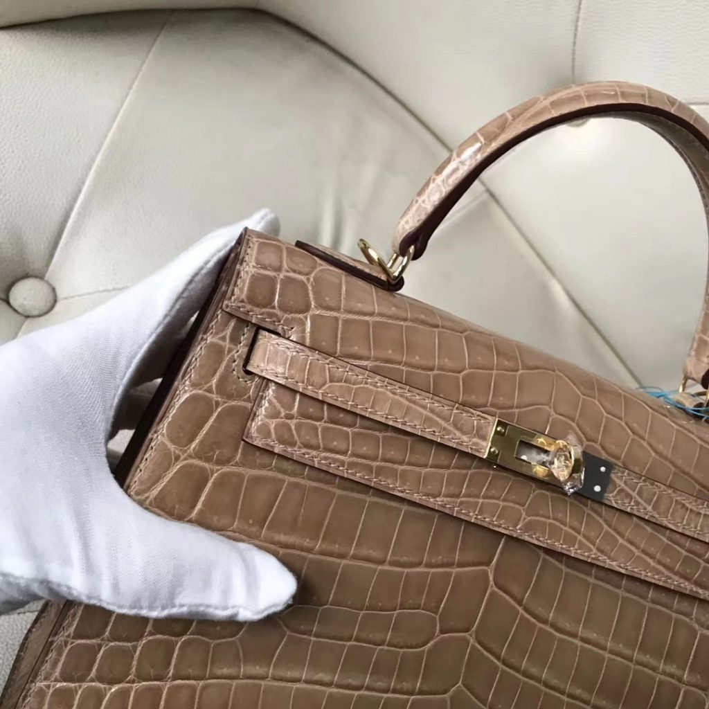 Fashion Hermes 1C Light Apricot Shiny Nilo Crocodile Kelly25CM Gold Hardware