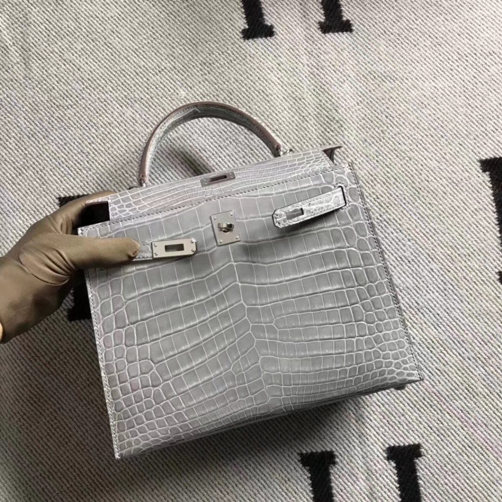 Hot Sale Hermes Shiny Nilo Crocodile Kelly Bag25CM in Gris Tourterelle Silver Hardware