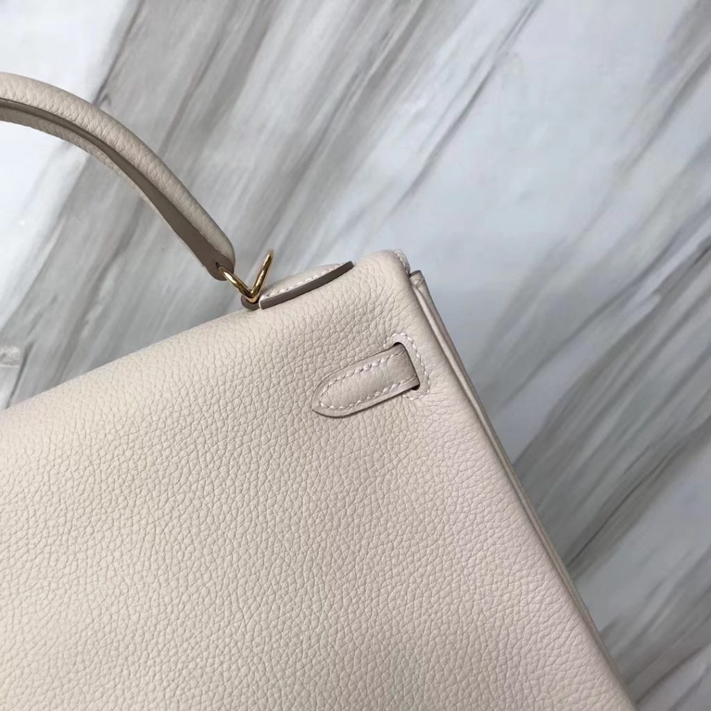 Fashion Hermes Togo Calf Kelly Bag25CM in CK10 Craie White Gold Hardware