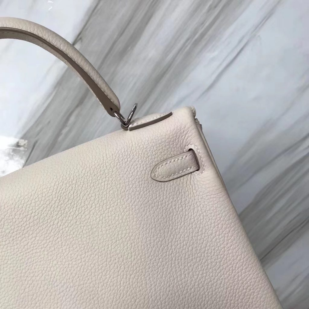Fashion Hermes Togo Calf Retourne Kelly25CM Handbag in CK10 Craie White Silver Hardware