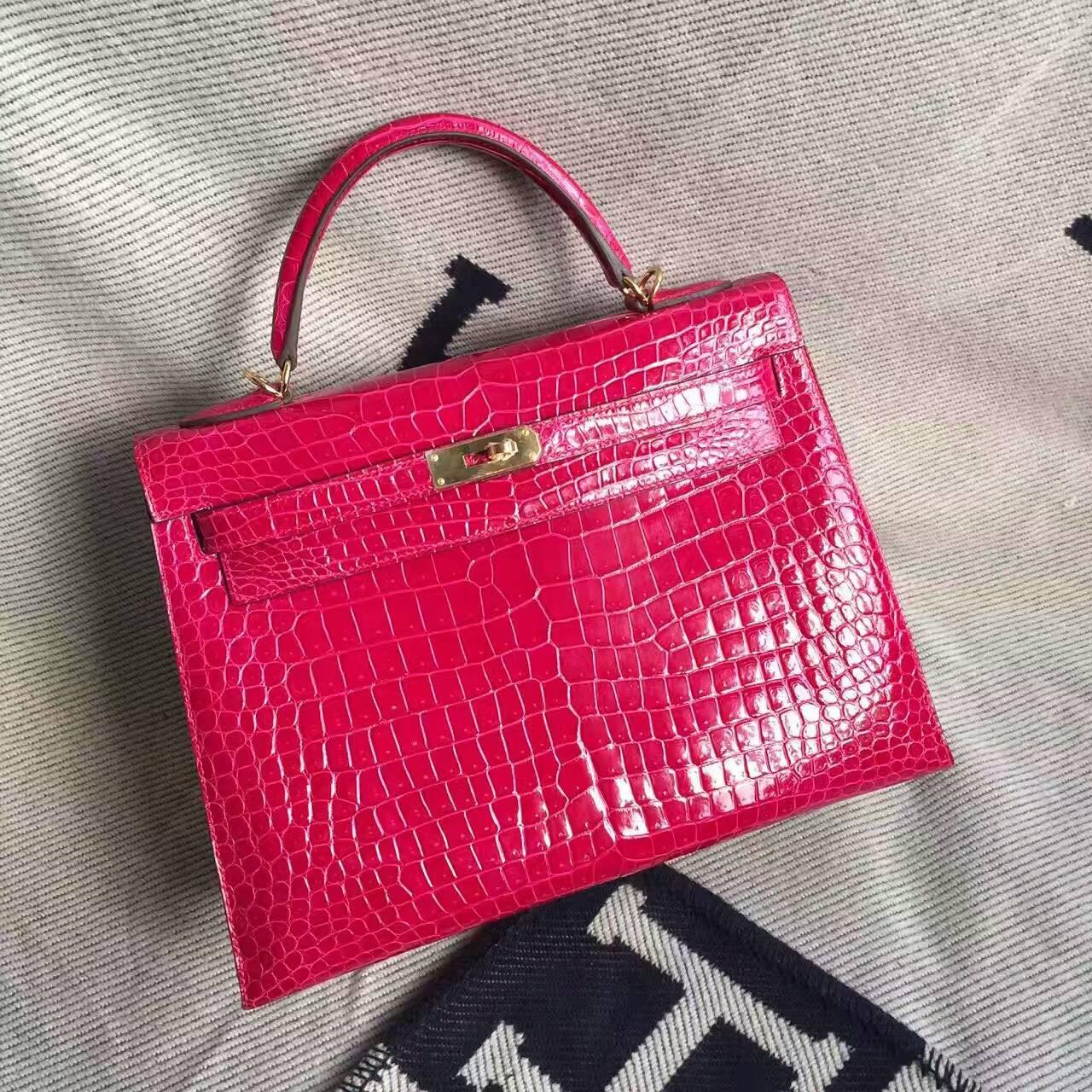 Noble Hermes Crocodile Shiny Leather Kelly Bag32cm in  J5 Rose Scheherazade