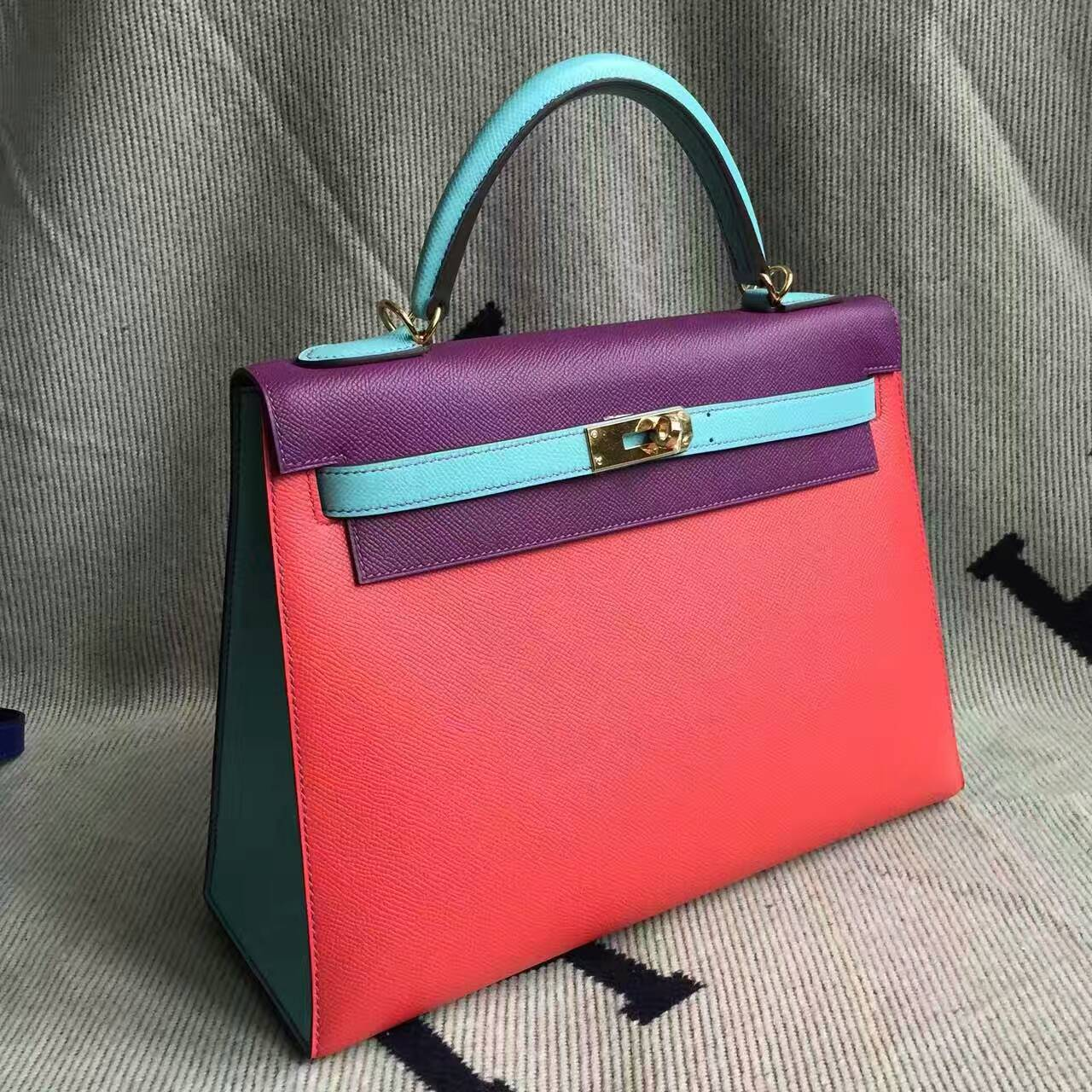 Discount Hermes Tricolor Epsom Calfskin Leather Sellier Kelly Bag32CM