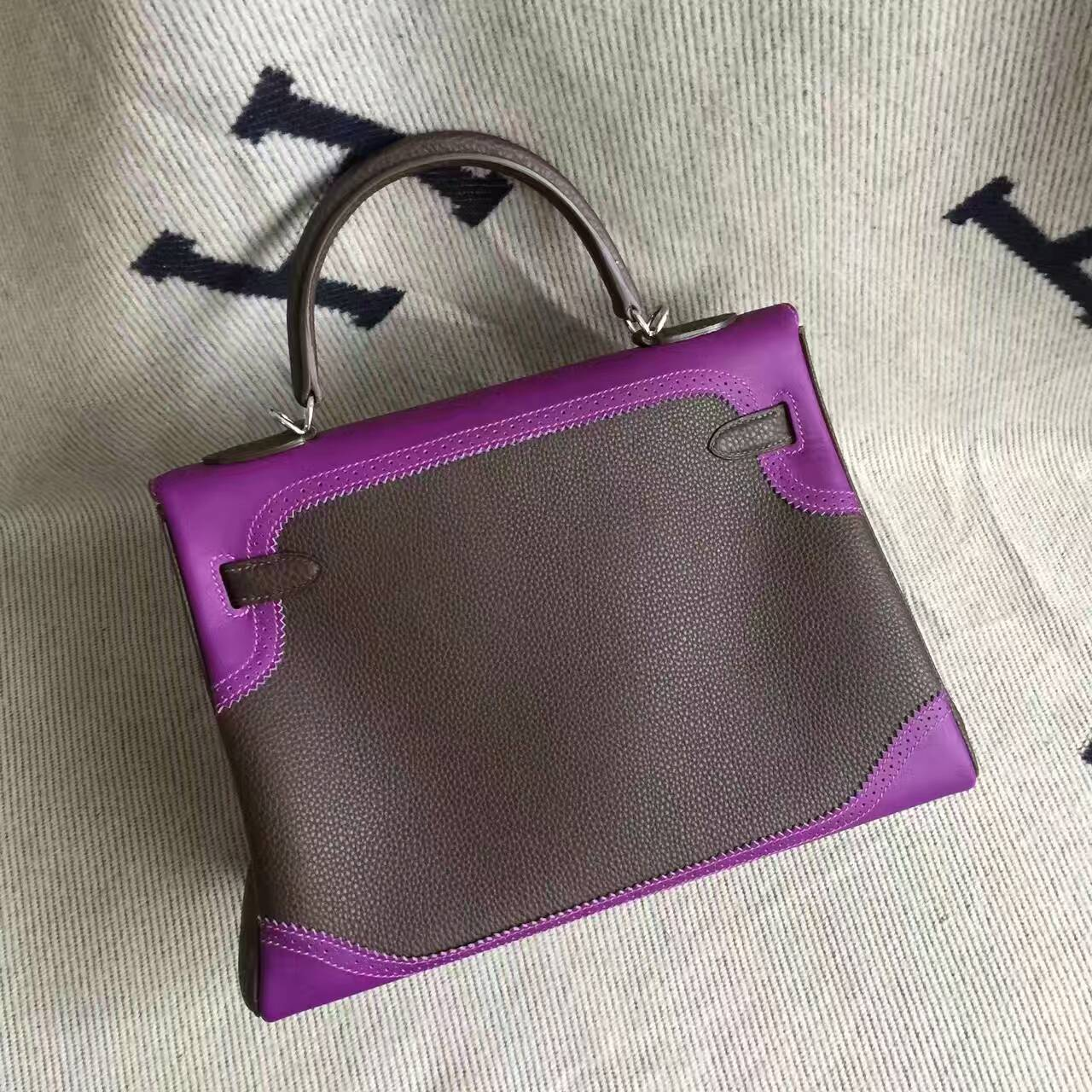 Sale Hermes Coffee & Purple Togo Calfskin Leather Ghillie Kelly Bag32CM