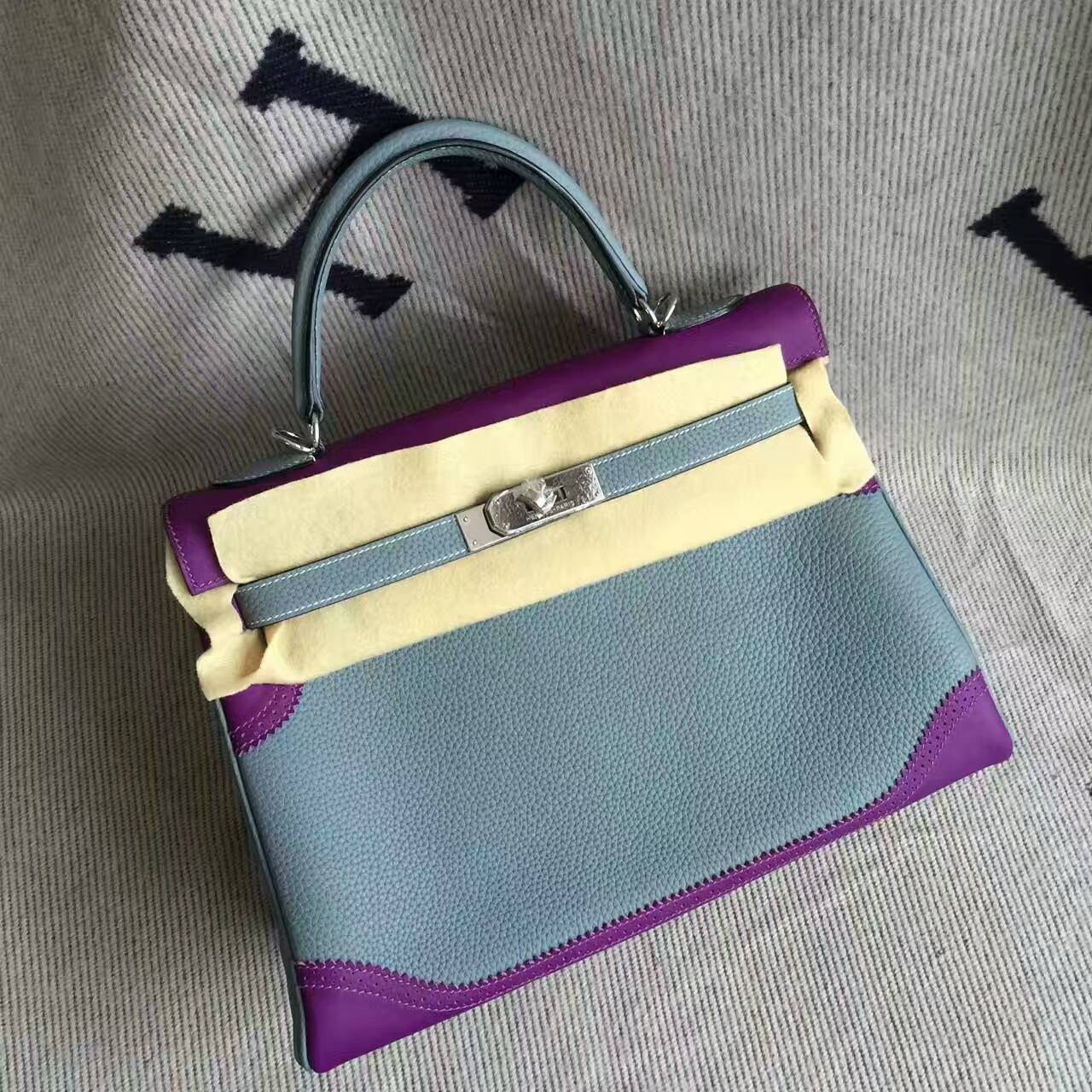 Hand Stitching Hermes Light Blue & Purple Togo Leather Ghillie Kelly Bag32CM