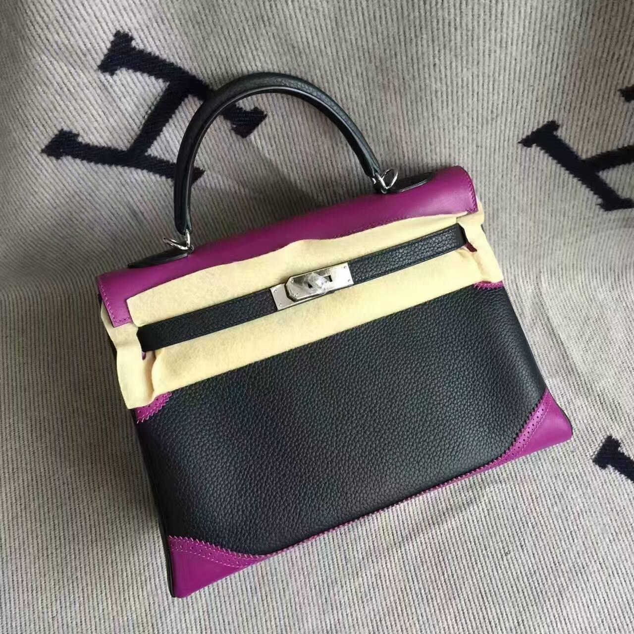 Sale Hermes Ghillie Kelly Bag32CM in Black & Purple Togo Calfskin Leather
