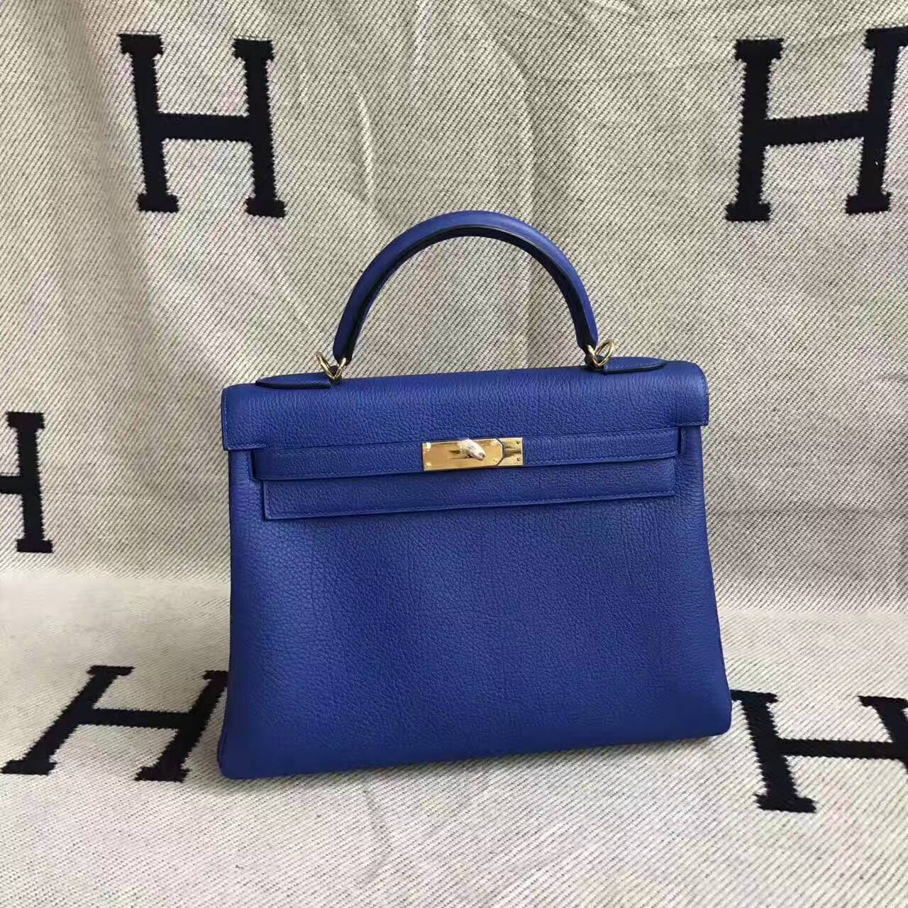 Wholesale Hermes 7T Blue Electric Togo Leather Retourne Kelly32cm Handbag