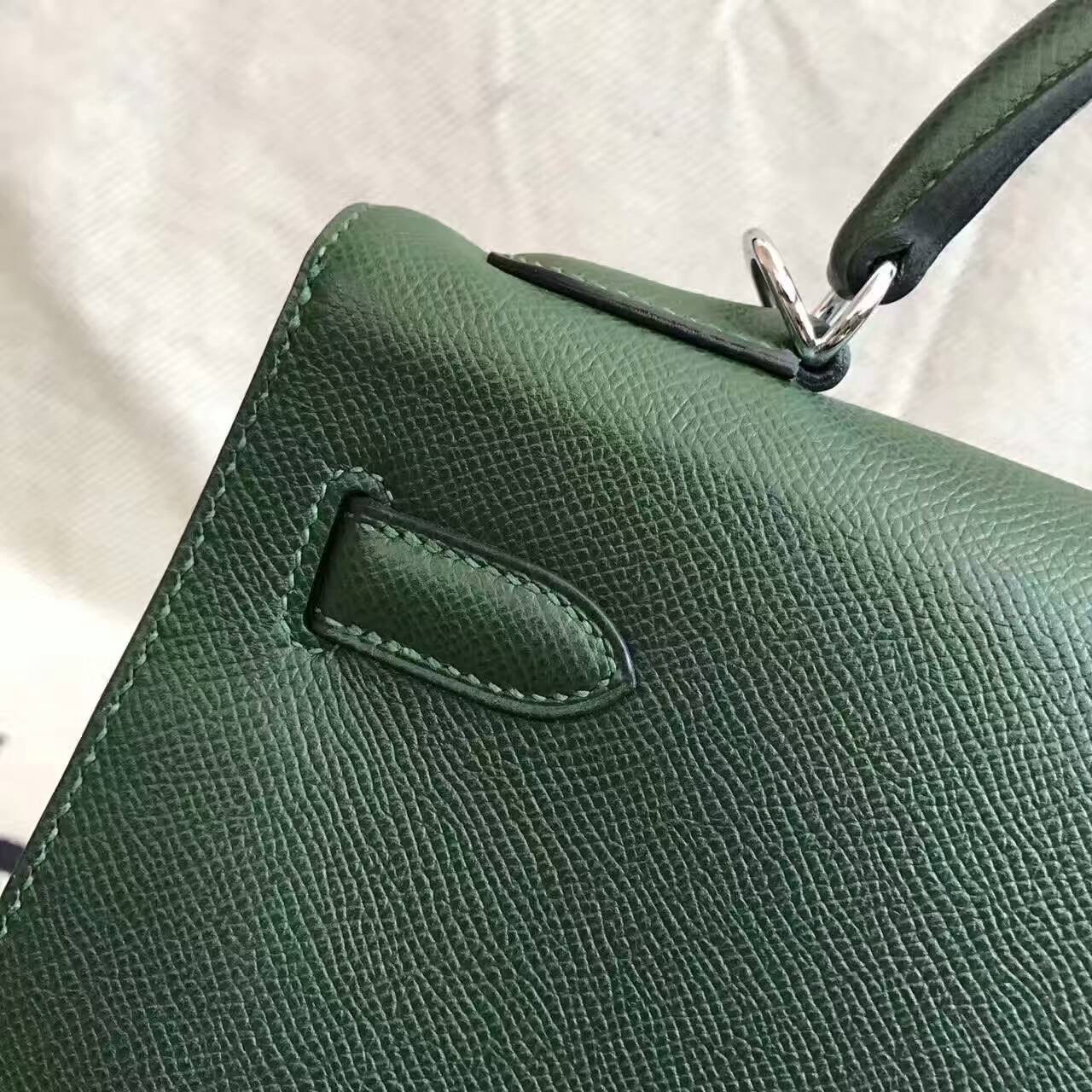 Discount Hermes 2Q English Green Epsom Leather Kelly Bag 32CM