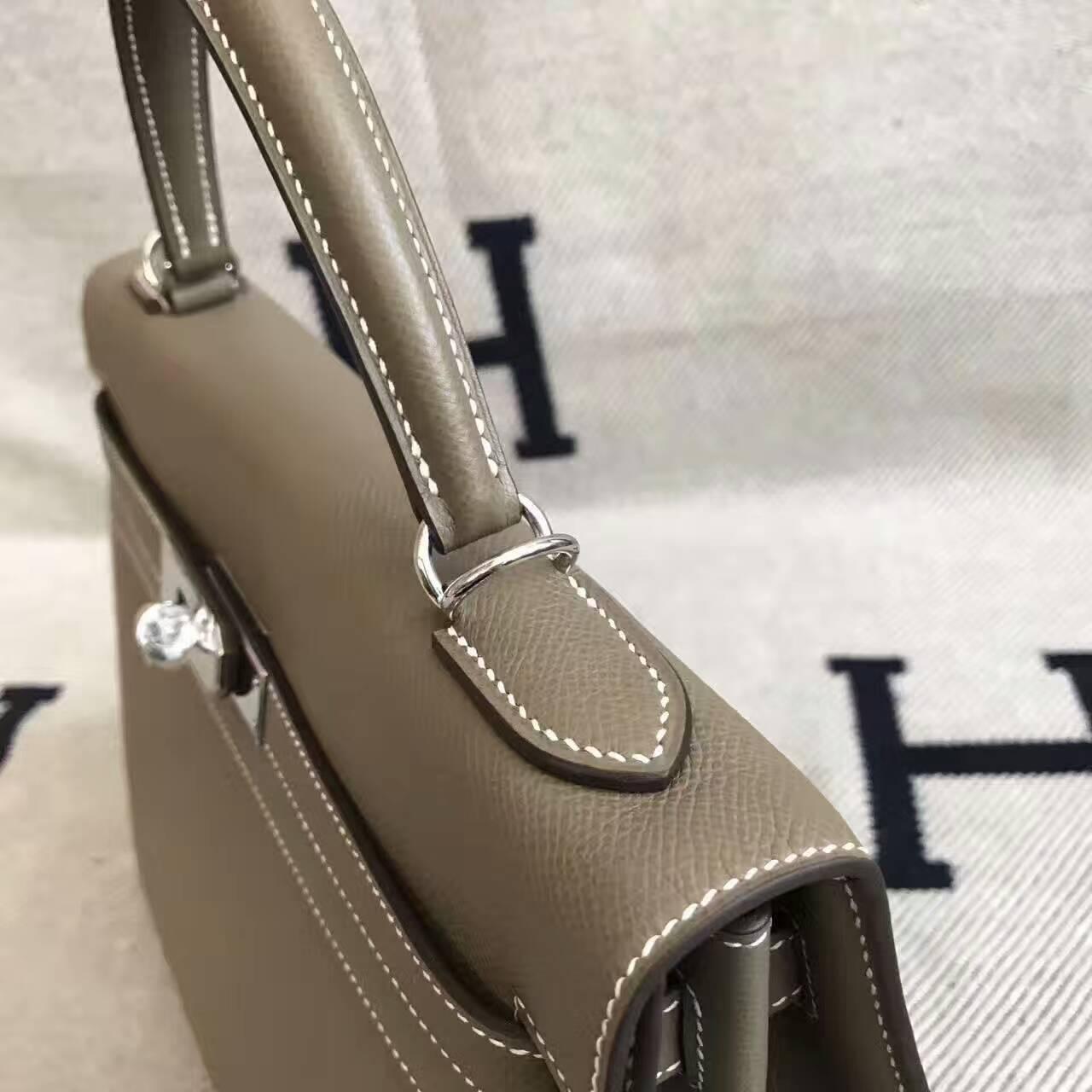 Hand Stitching Hermes C18 Etoupe Grey Epsom Leather Kelly Bag 32CM