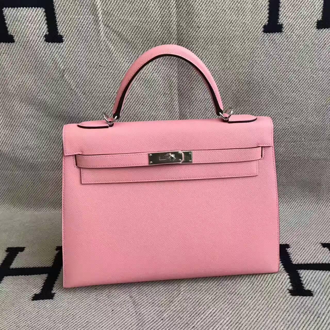 New Pretty Hermes Kelly32cm Handbag in 1Q Rose Confetti Epsom Leather