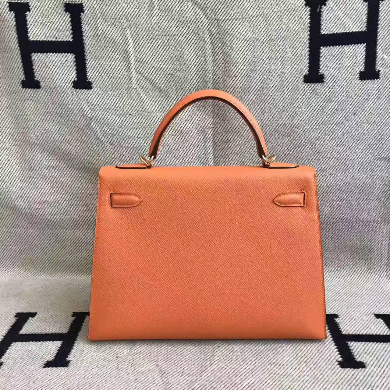 Discount Hermes 93 Orange Epsom Calfskin Leather Sellier Kelly Bag 32CM