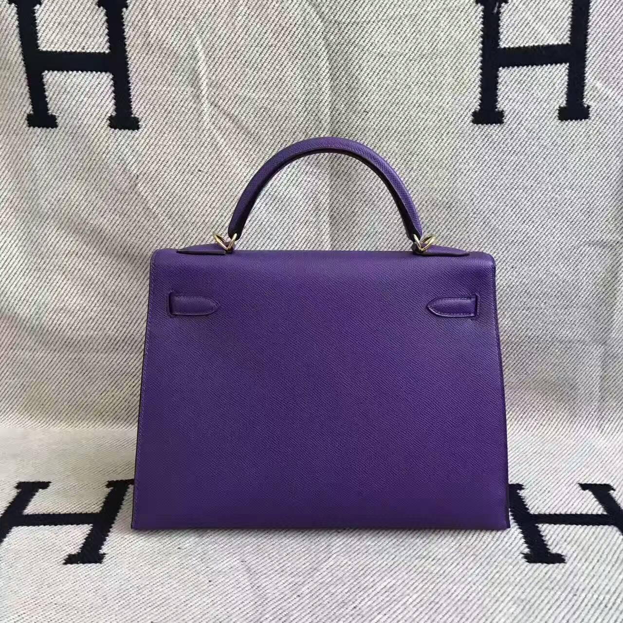 Wholesale Hermes 9W Violet Epsom Leather Sellier Kelly Bag 32CM