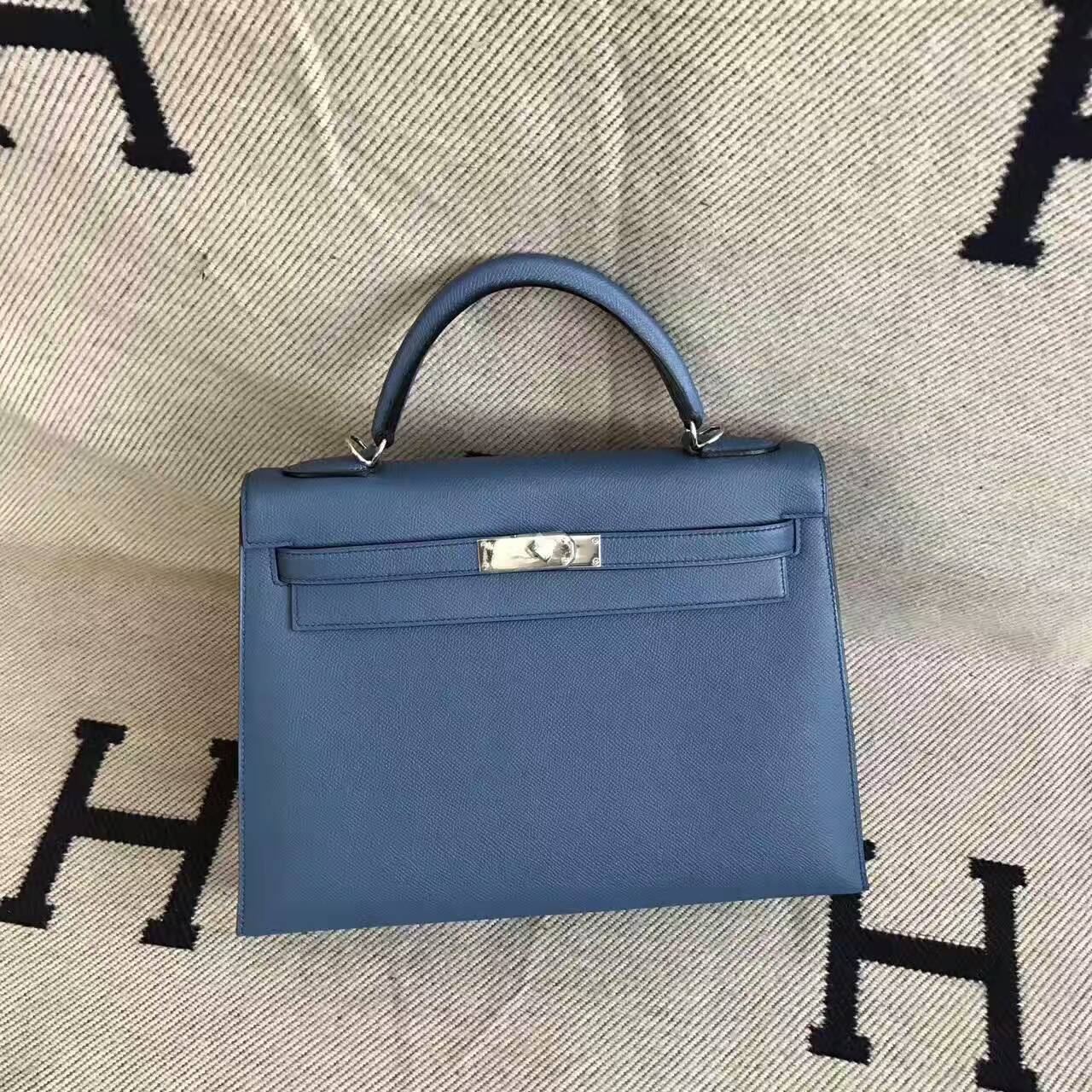 Hand Stitching Hermes Kelly Bag 32CM in 2R Agate Blue Epsom Leather