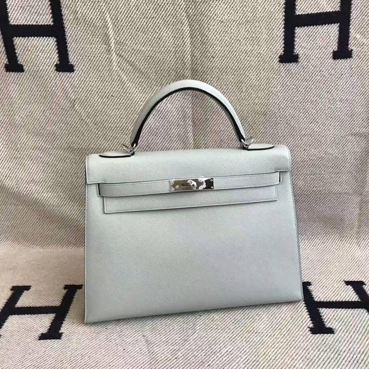 On Sale Hermes 8U Blue Glacier Epsom Leather Kelly Bag 32CM