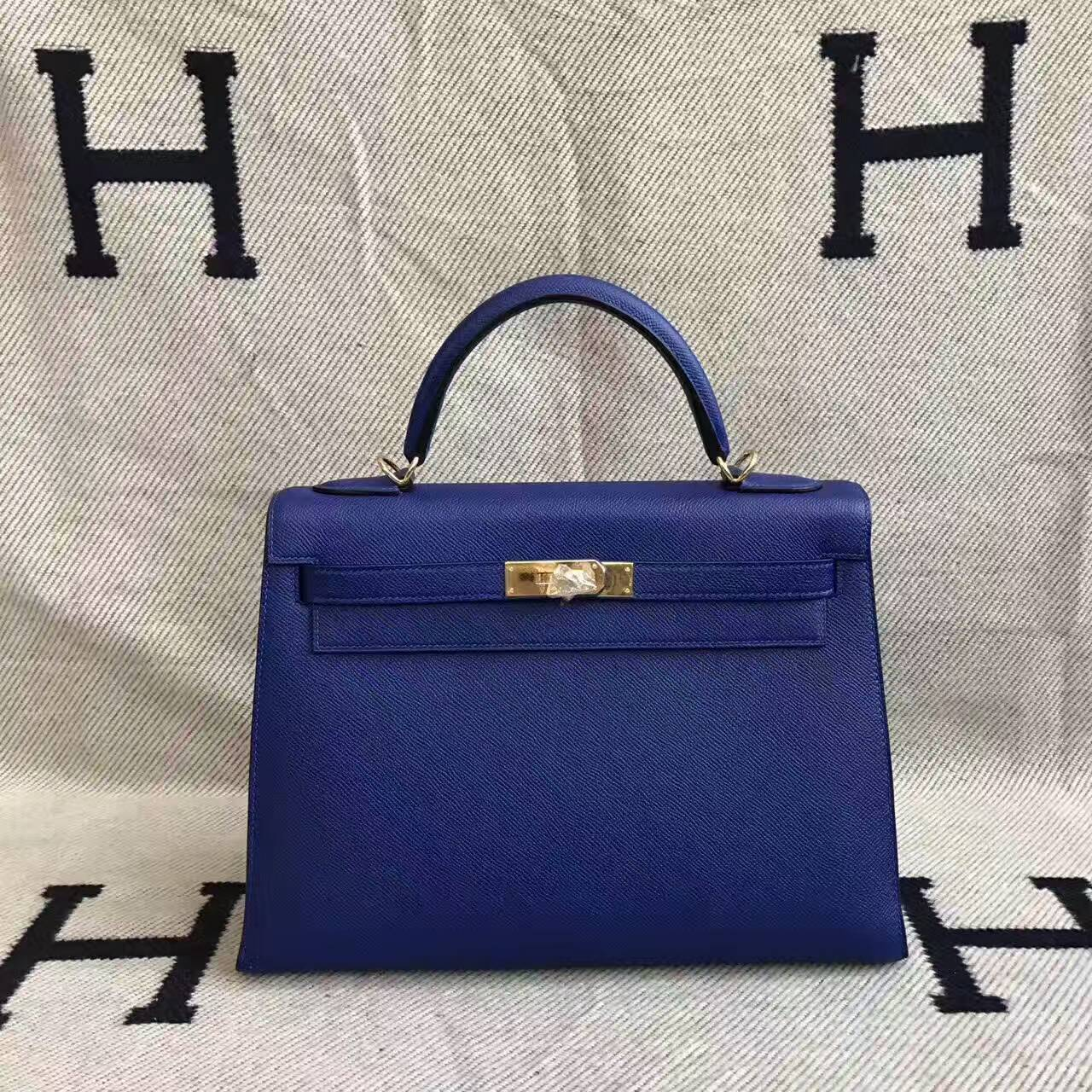 Women's Bag Hermes Kelly Bag 32CM in 7T Blue Electric Epsom Leather