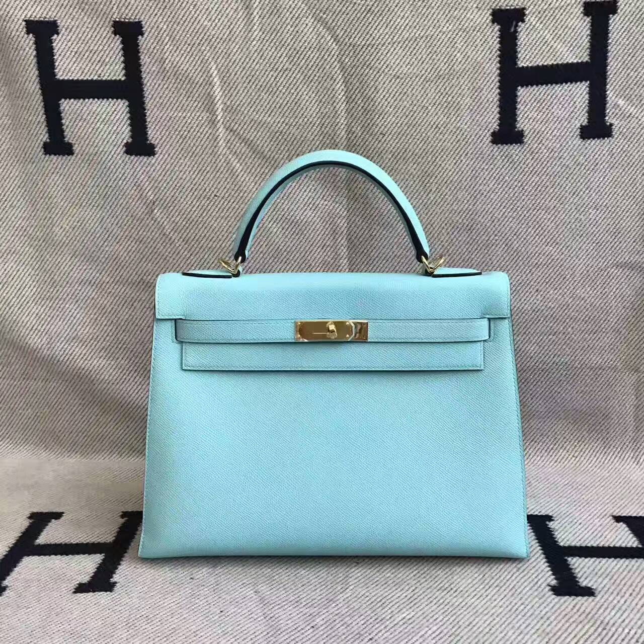 Discount Hermes 3P Blue Attol Epsom Leather Sellier Kelly Bag 32CM