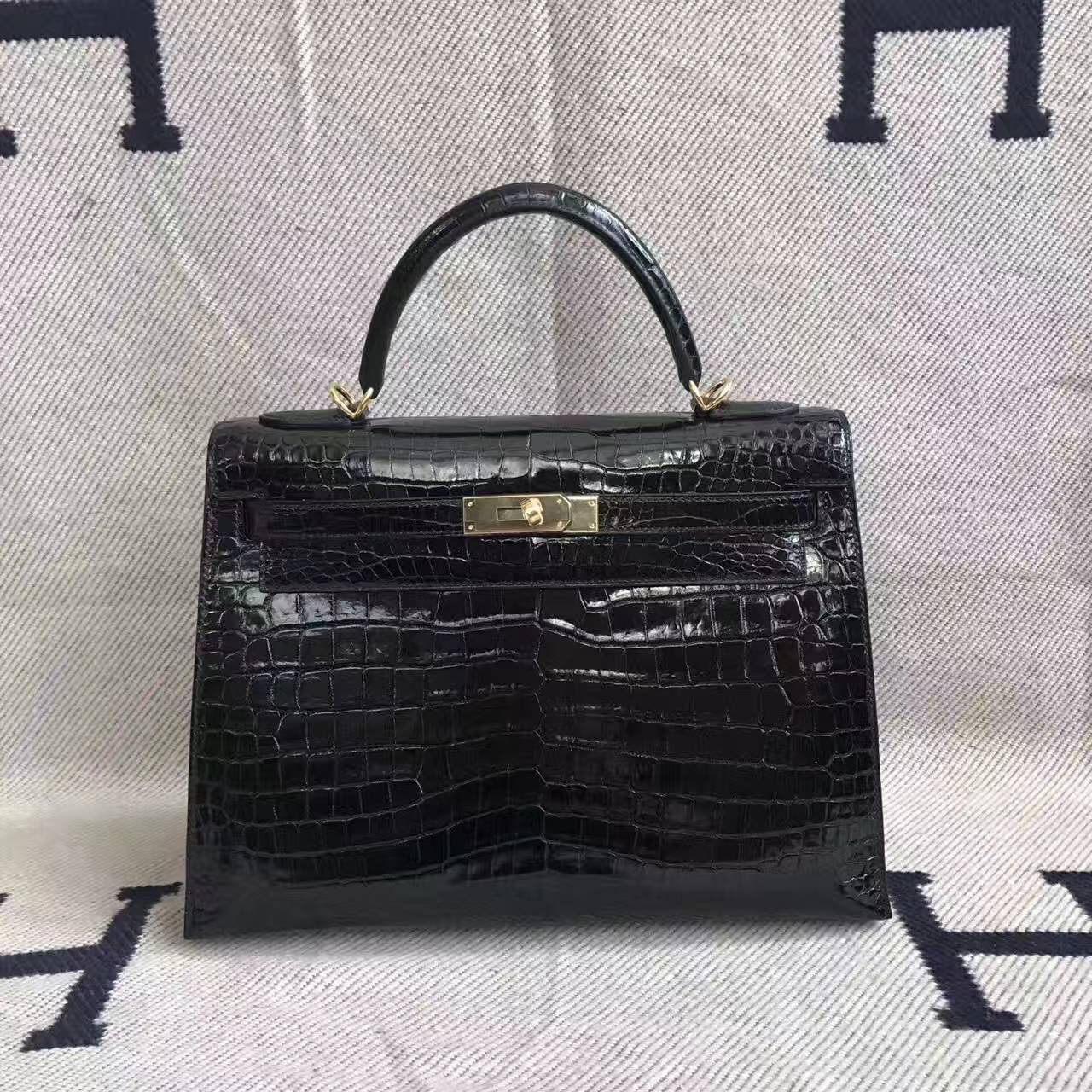 Wholesale Hermes CK89 Black Crocodile Shiny Leather Kelly 32cm Handbag