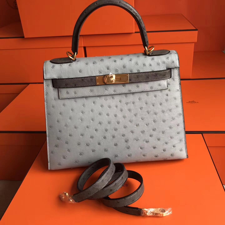 New Hermes Blue Glacier & Etain Grey Ostrich Leather Kelly Bag32cm