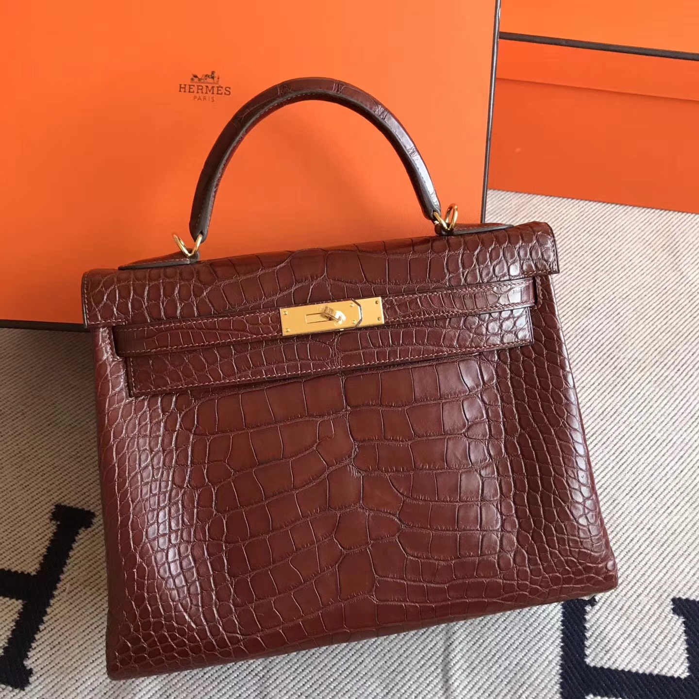 Hand Stitching Hermes Alligator Matt Retourne Kelly Bag32cm Gold Hardware