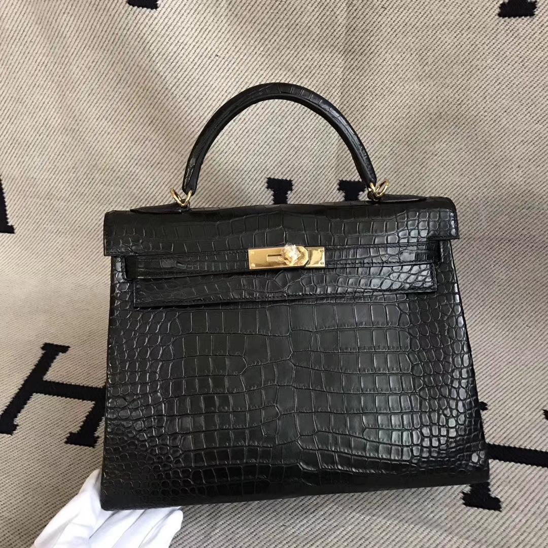 Elegant Hermes CK89 Black Crocodile Matt Kelly Bag32cm Gold Hardware
