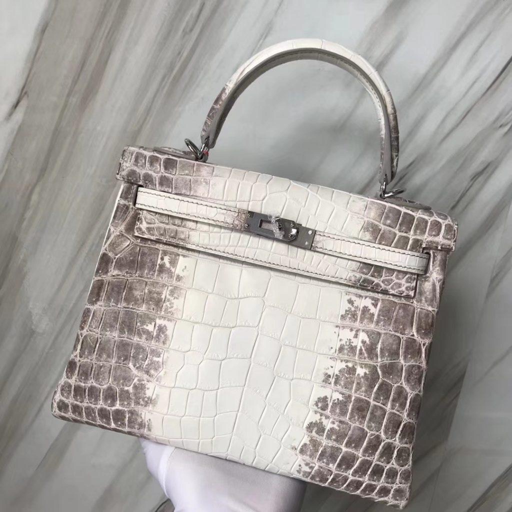 Stock Fashion Hermes Kelly25CM Tote Bag in Himalaya Crocodile Leather Silver Hardware