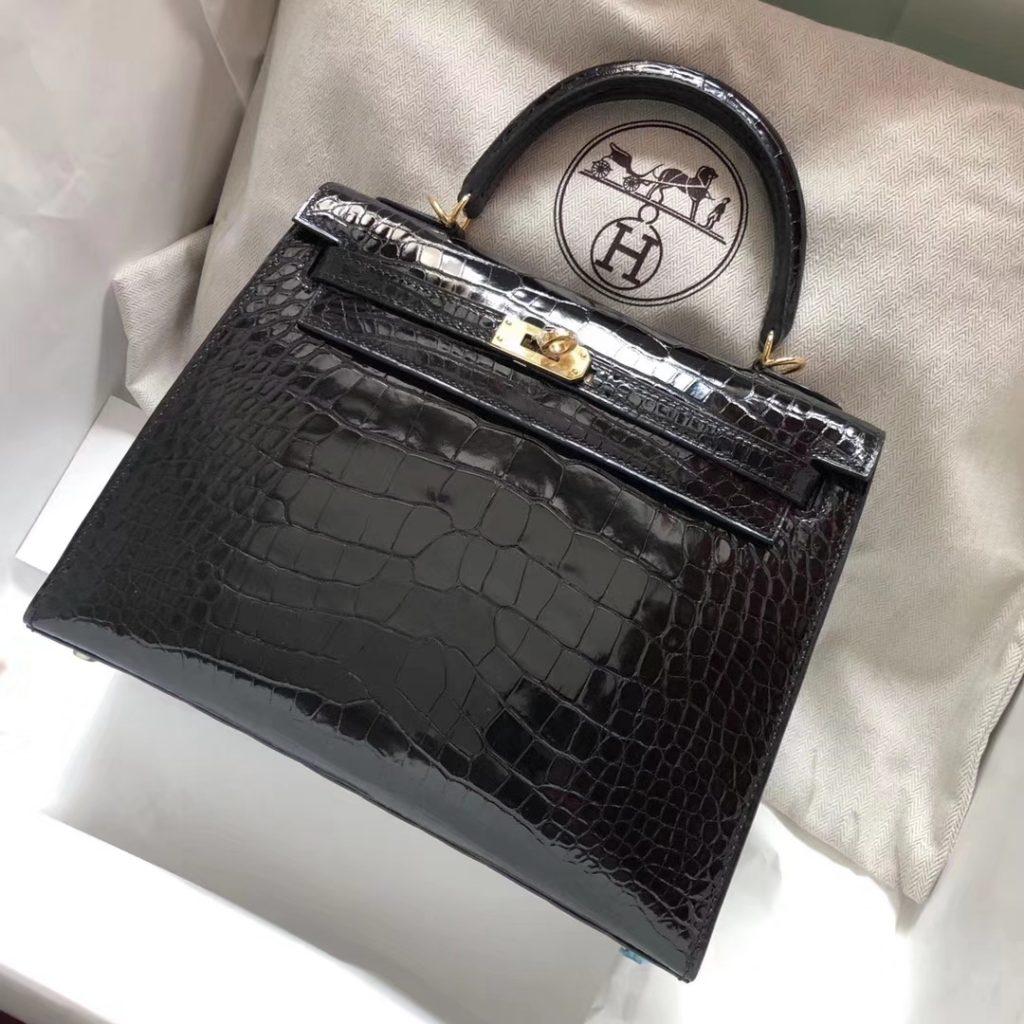 Stock Discount Hermes CK89 Noir Alligator Shiny Crocodile Kelly Bag25CM Gold Hardware