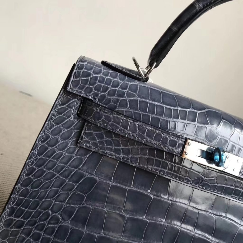 Stock Hermes Alligator Shiny Crocodile Kelly25CM Bag in N7 Blue Tempete Silver Hardware