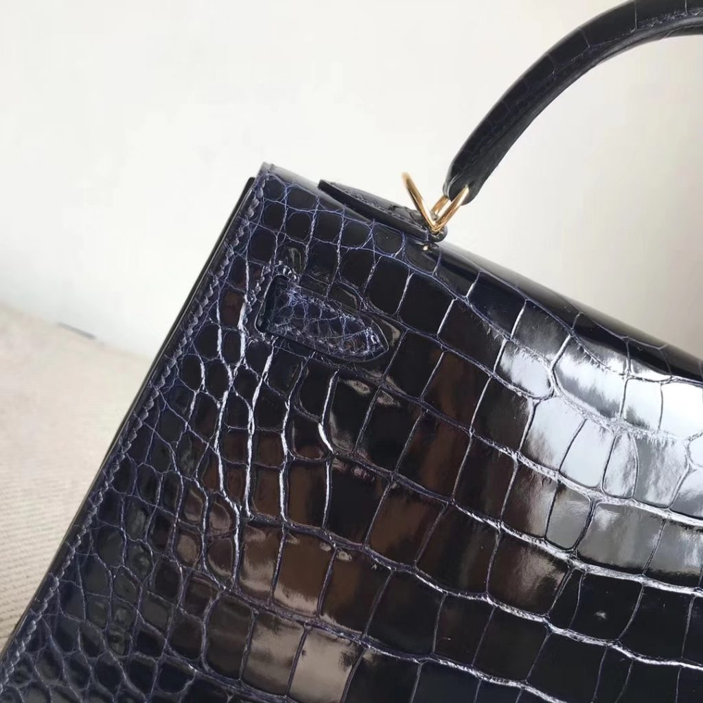 Stock Hermes 7K Blue Saphir Shiny Crocodile Kelly Tote Bag25CM Gold Hardware