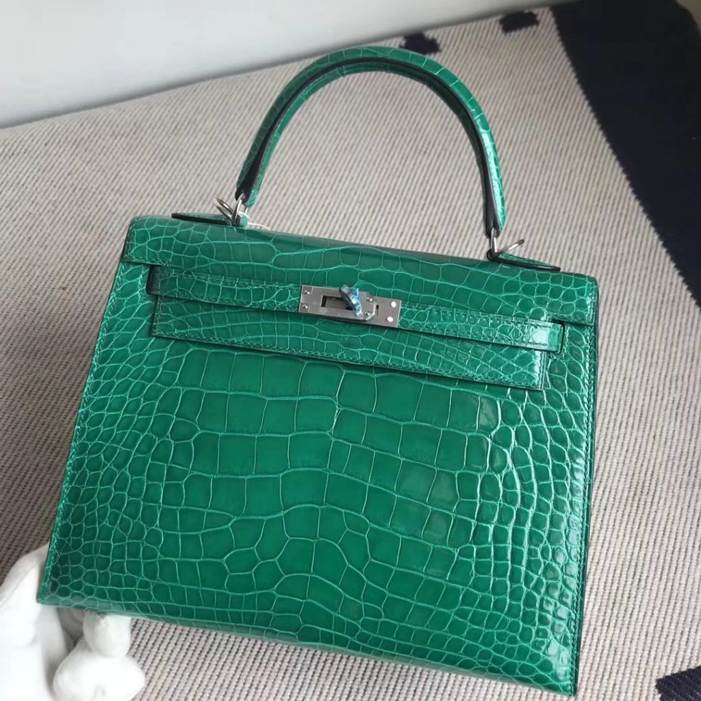 Stock Luxury Hermes Alligator Shiny Crocodile Kelly Bag25CM in 6Q Vert Emeraude Silver Hardware