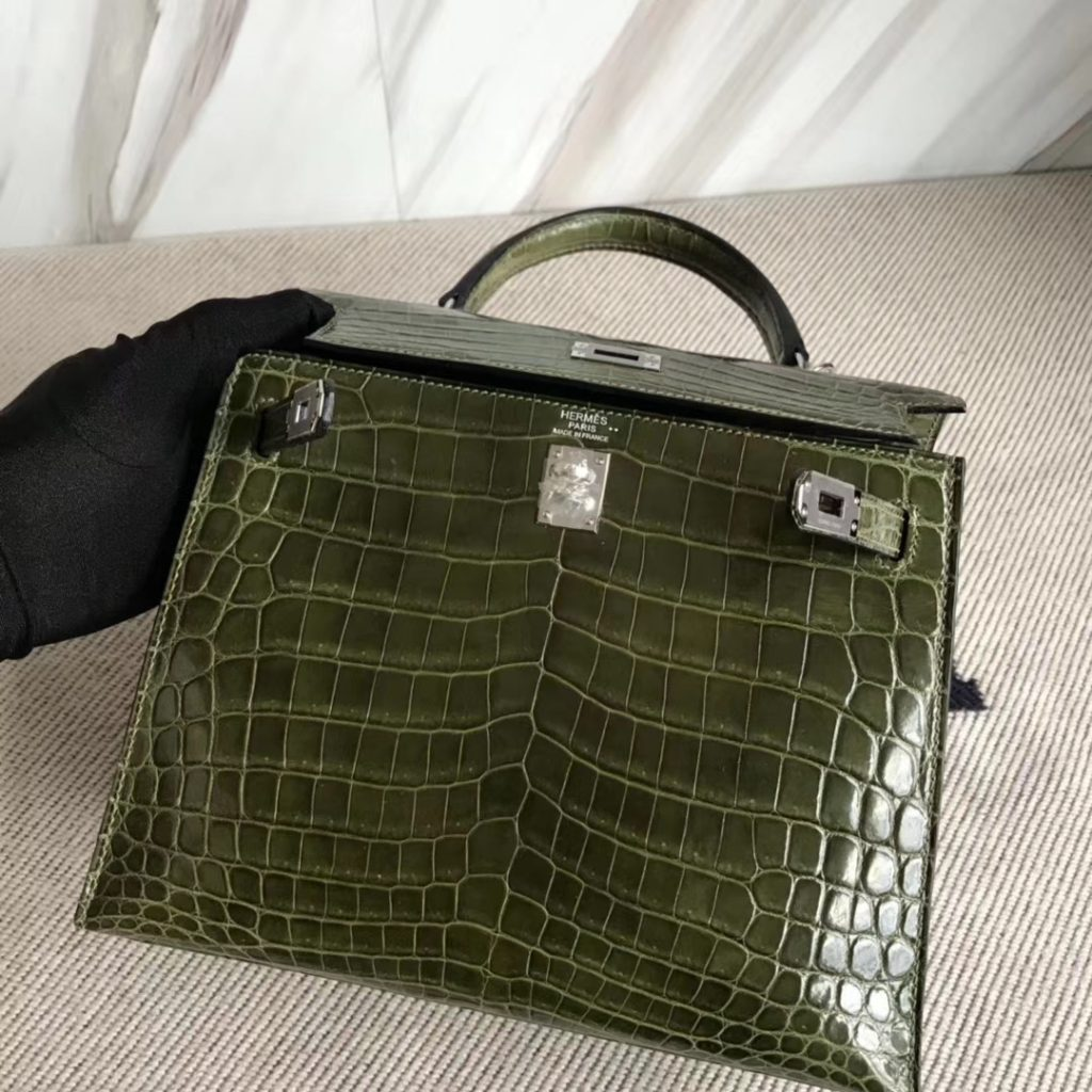 Stock New Hermes Shiny Crocodile Sellier Kelly Bag25CM in 6H Vert Veronese  Silver Hardware