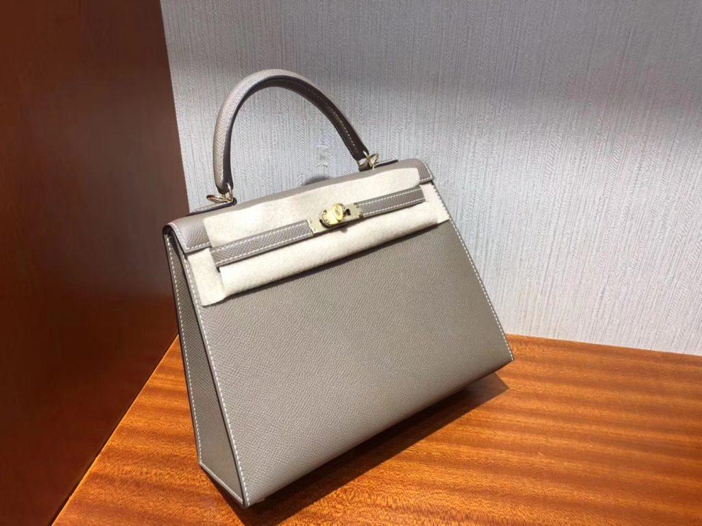 Stock Hermes Hot Sale CK18 Etoupe Grey Epsom Calf Kelly Bag25CM Gold Hardware