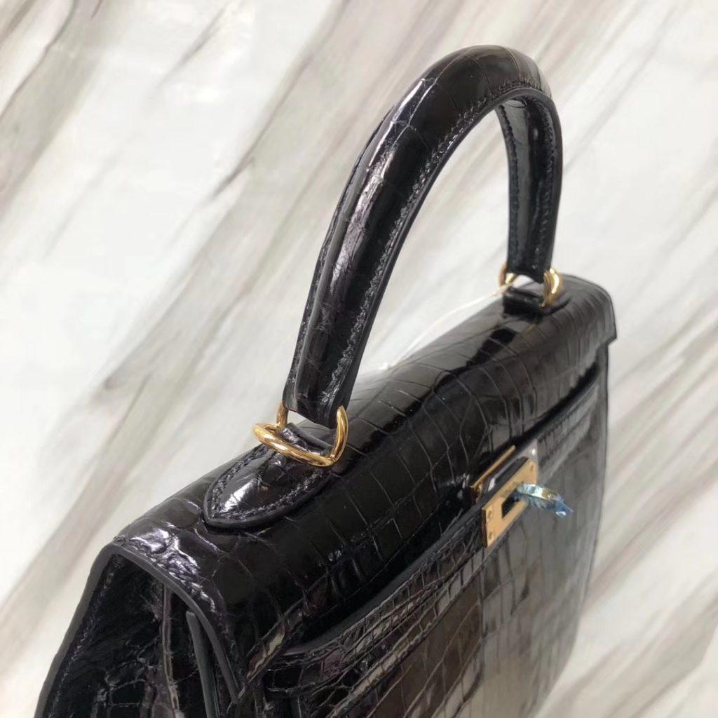 Stock Hermes CK89 Noir Crocodile Shiny Leather Classic Kelly Bag25CM Gold Hardware
