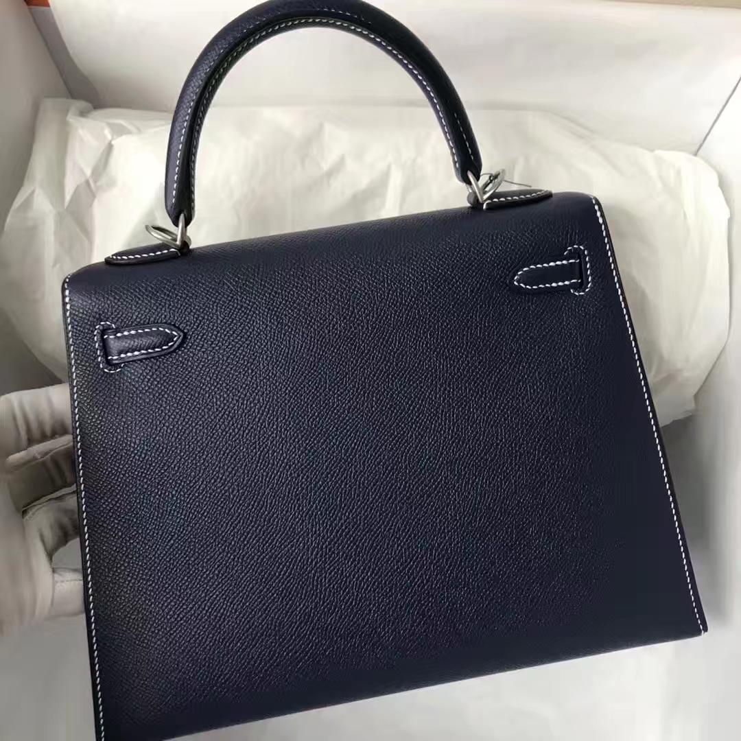 Stock Hermes 73 Blue Indgo Epsom Kelly25CM White Line Silver Hardware