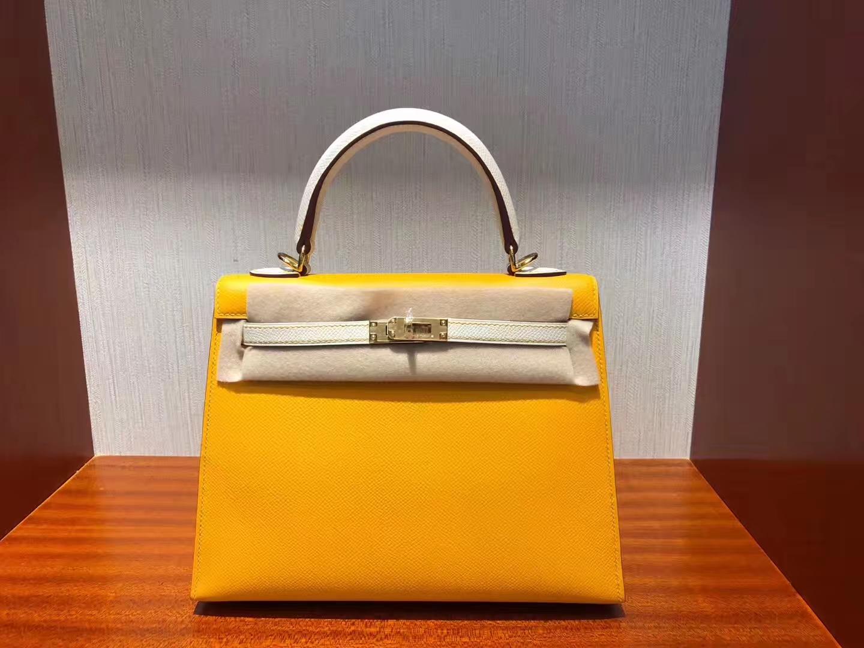 Stock Fashion Hermes 9V Jaune D'or/CK10 Craie Epsom Calf Sellier Kelly25CM Bag