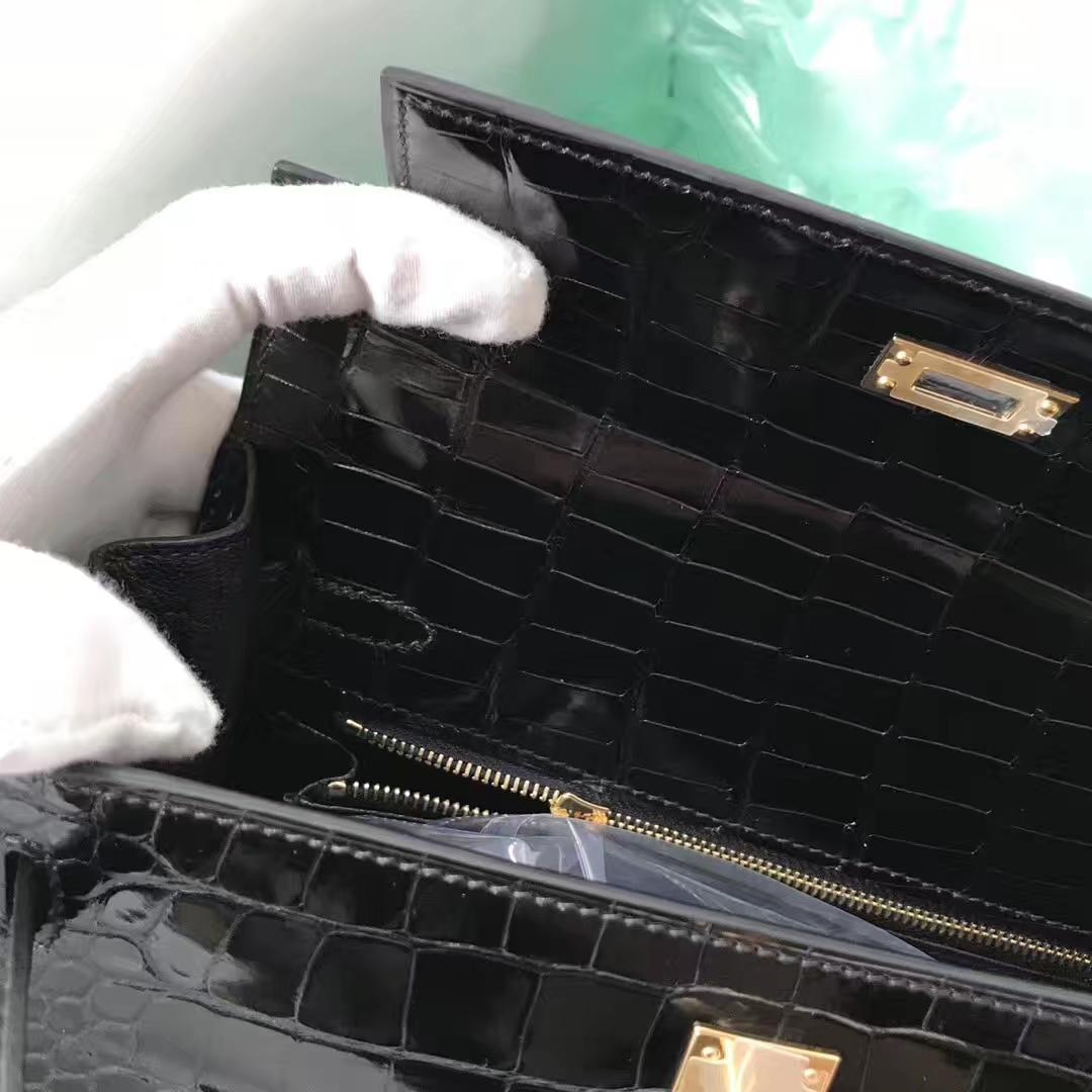 Stock Noble Hermes CK89 Noir Shiny Crocodile Kelly25CM Bag Gold Hardware