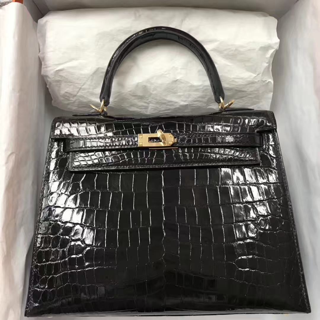 Stock Hermes Shiny Crocodile Kelly Bag25CM in CK89 Noir Gold Hardware