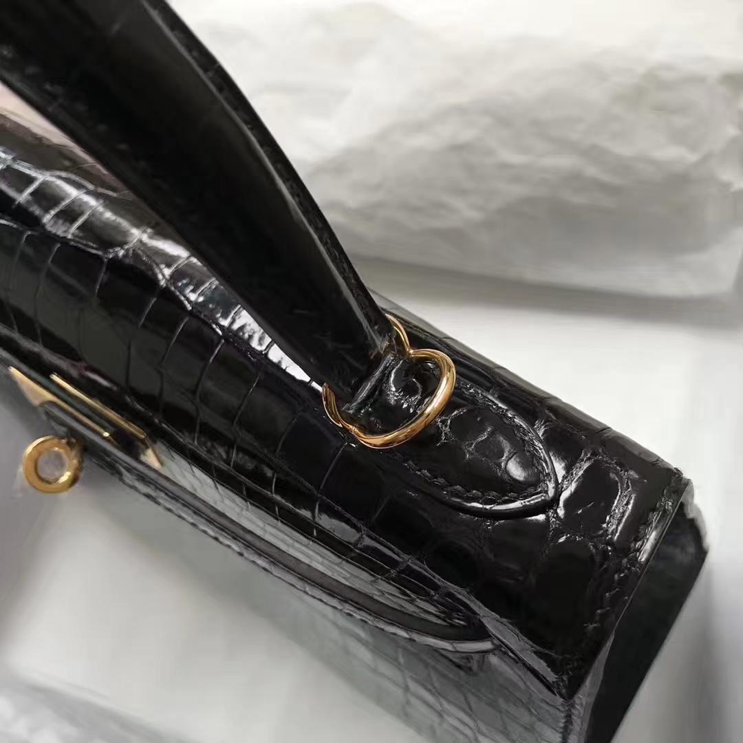 Stock Hermes Shiny Crocodile Kelly Bag25CM in CK89 Noir Gold Hardware
