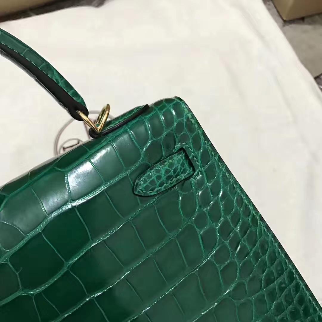 Stock Hermes 6Q Vert Emeraude Shiny Crocodile Kelly Bag25CM Gold Hardware