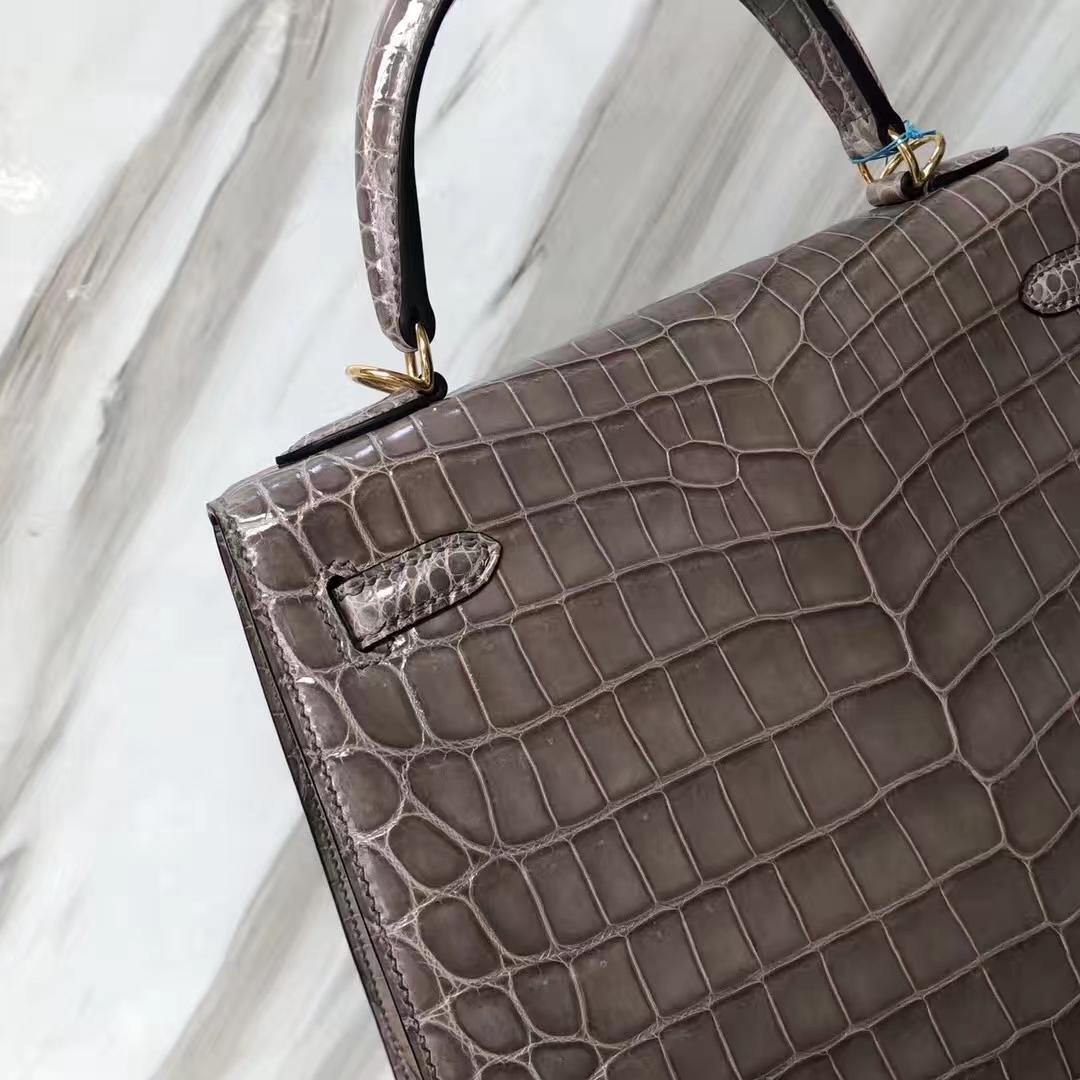 Stock Disount Hermes CK81 Gris Tourterelle Shiny Nilo Crocodile Kelly Bag Gold Hardware