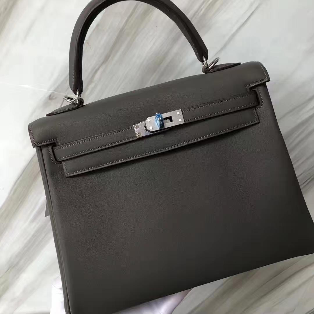 Customization Hermes 8F Gris Etain Swift Calf Retourne Kelly25CM Bag Silver Hardware
