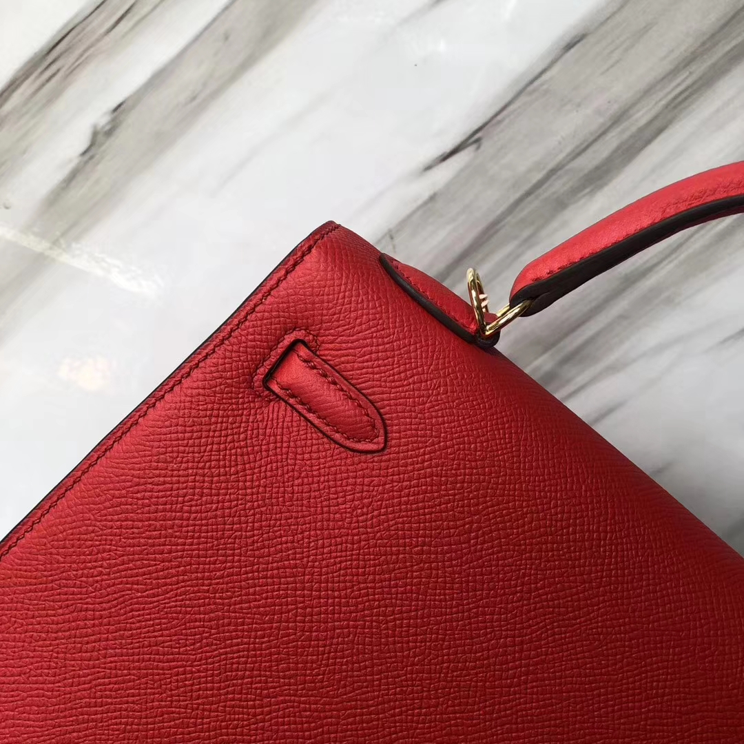 Stock Hermes S3 Rose De Coeur Epsom Calf Sellier Kelly Bag25CM Gold Hardware
