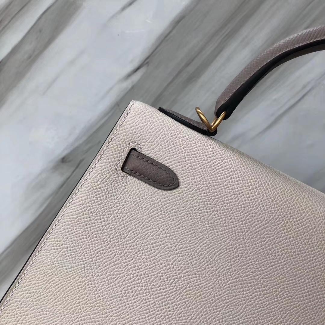 Customization Hermes CK10 Craie/CK37 Gold Epsom Calf Kelly25CM Bag Rose Gold Hardware