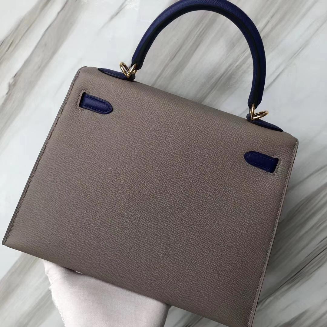 Stock Hermes Epsom Calf Kelly Bag25CM M8 Gris Ashpite/7T Blue Electric Gold Hardware